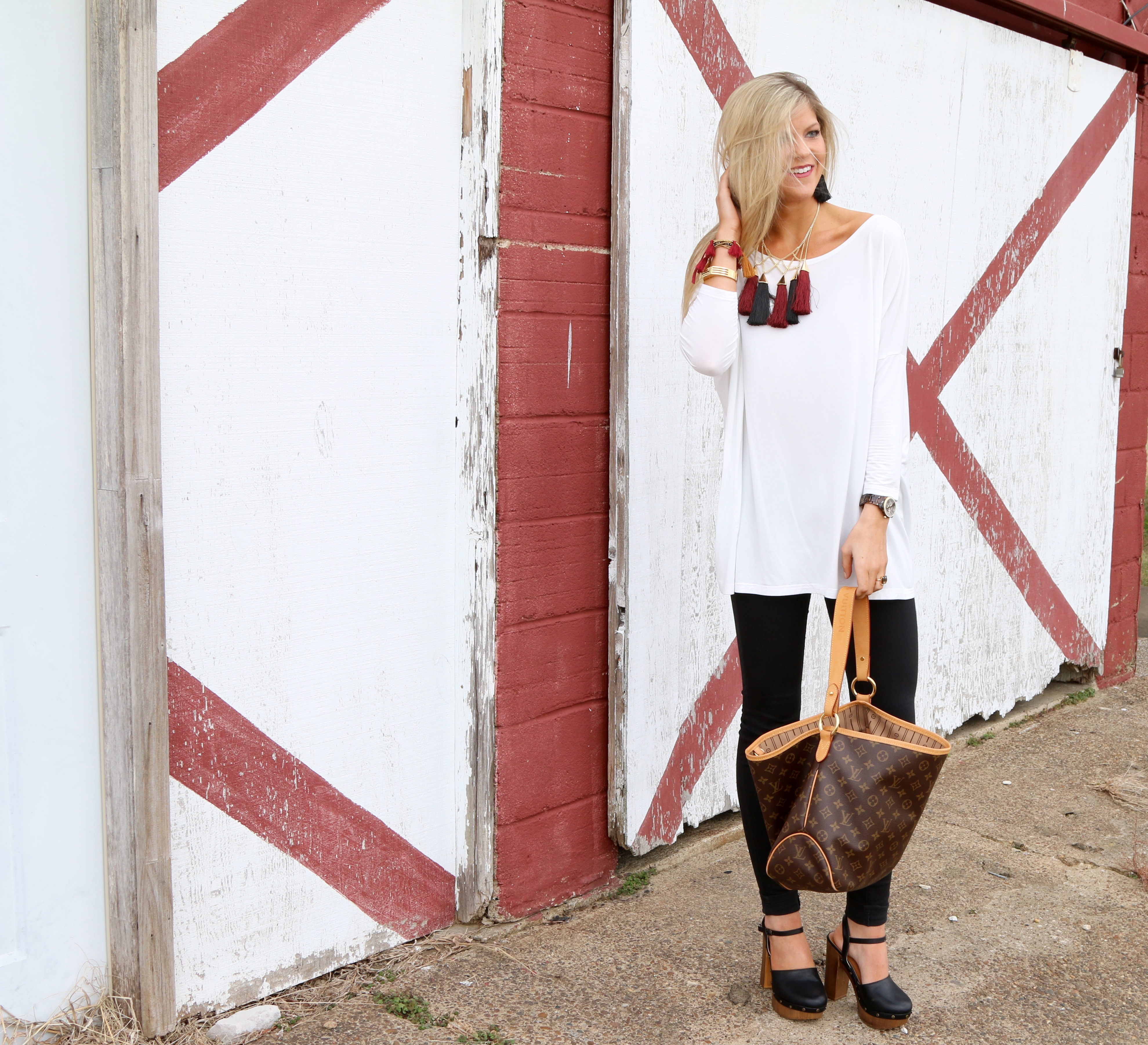 White Piko Top & Statement Necklace