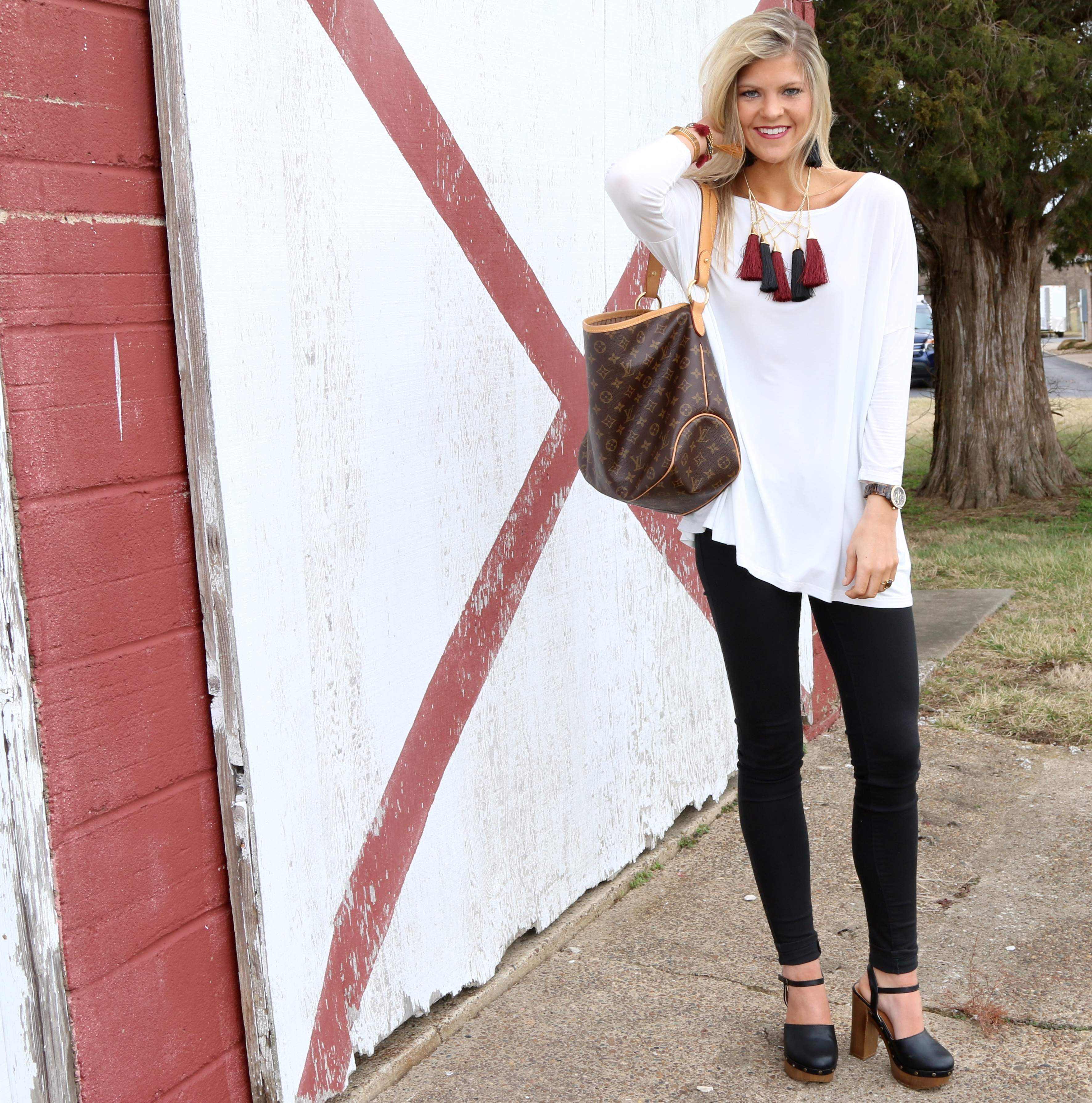 Black & White Outfit with Tassel Necklace