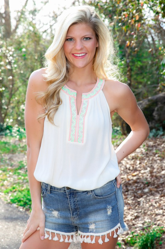 Tassel Shorts & Embroidered Tank Top
