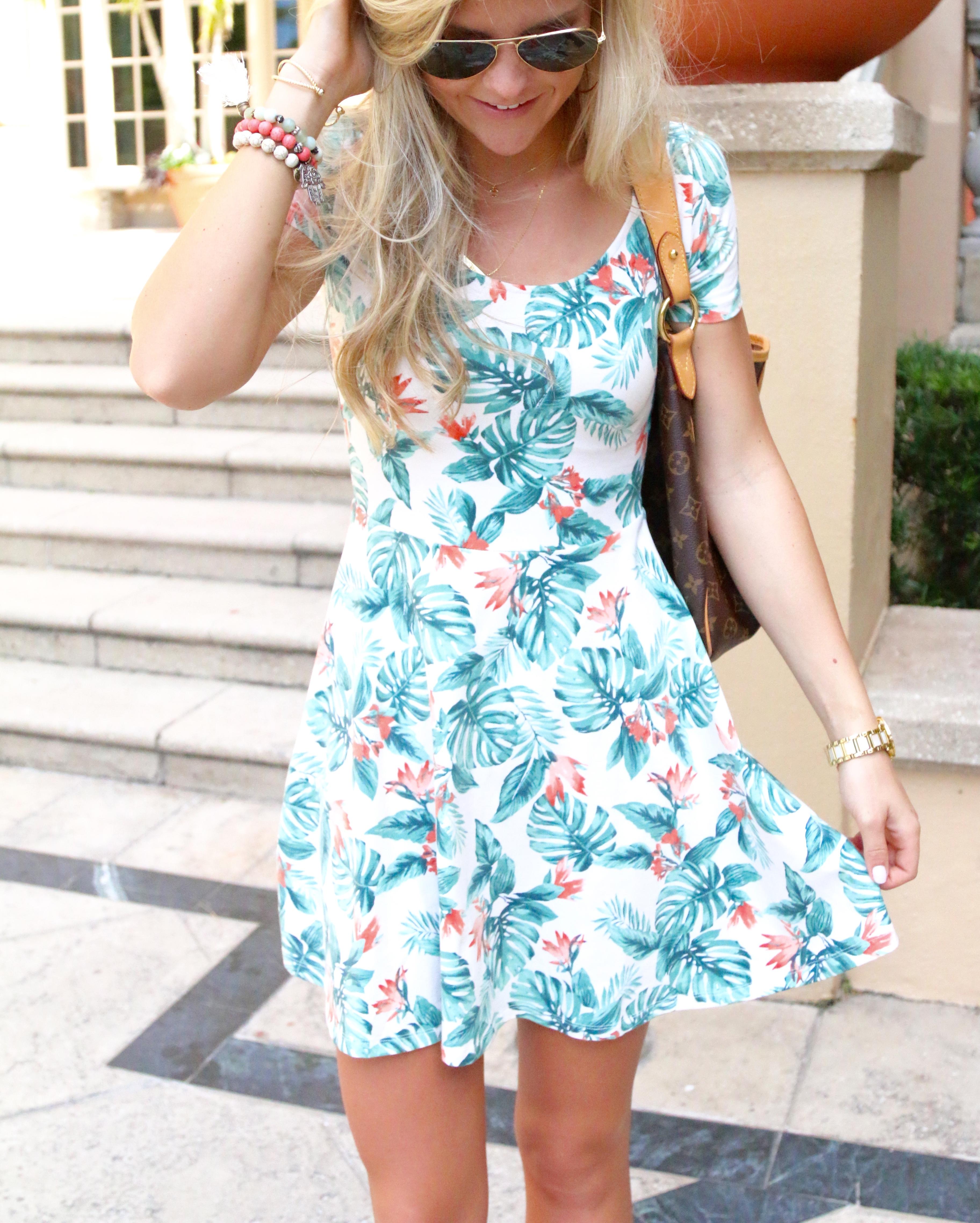 Printed Palm Leaf Dress
