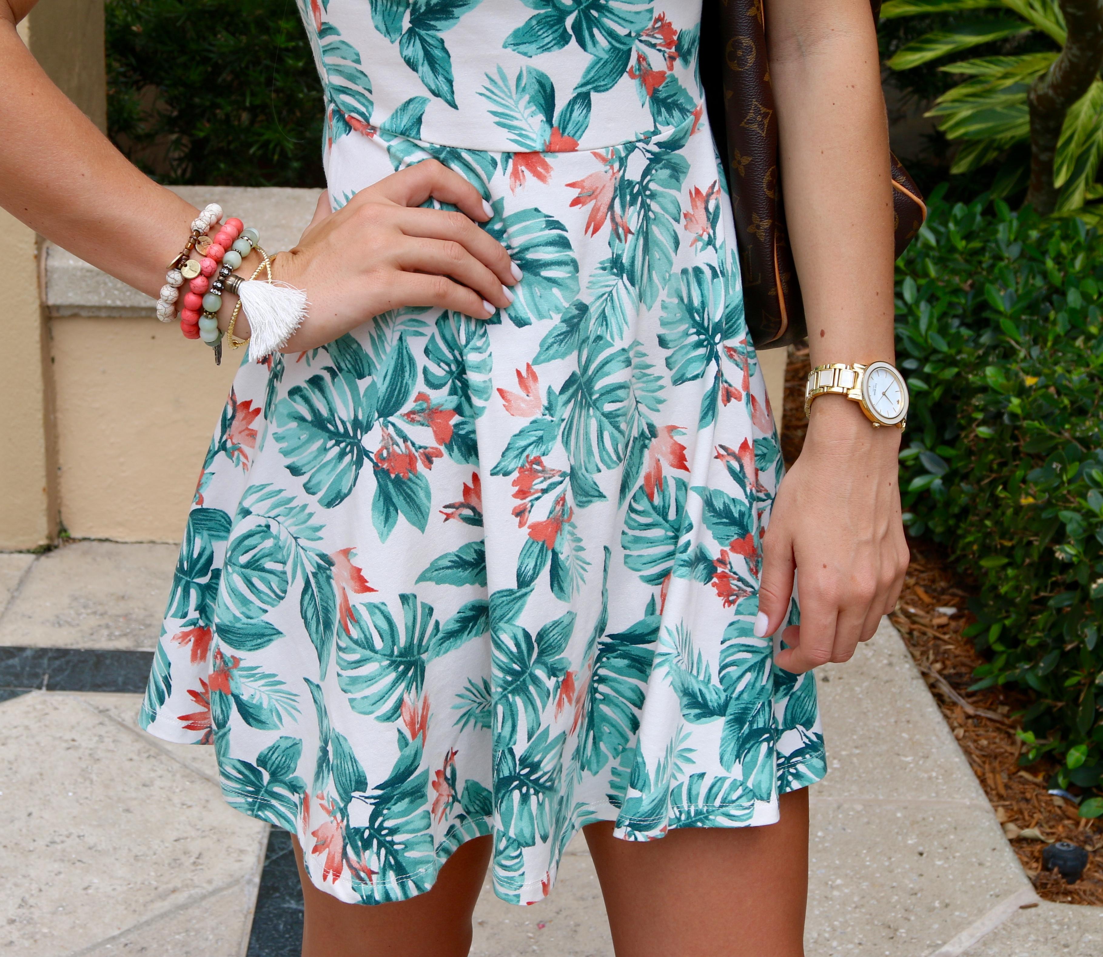 Palm Dress & Beaded Bracelet