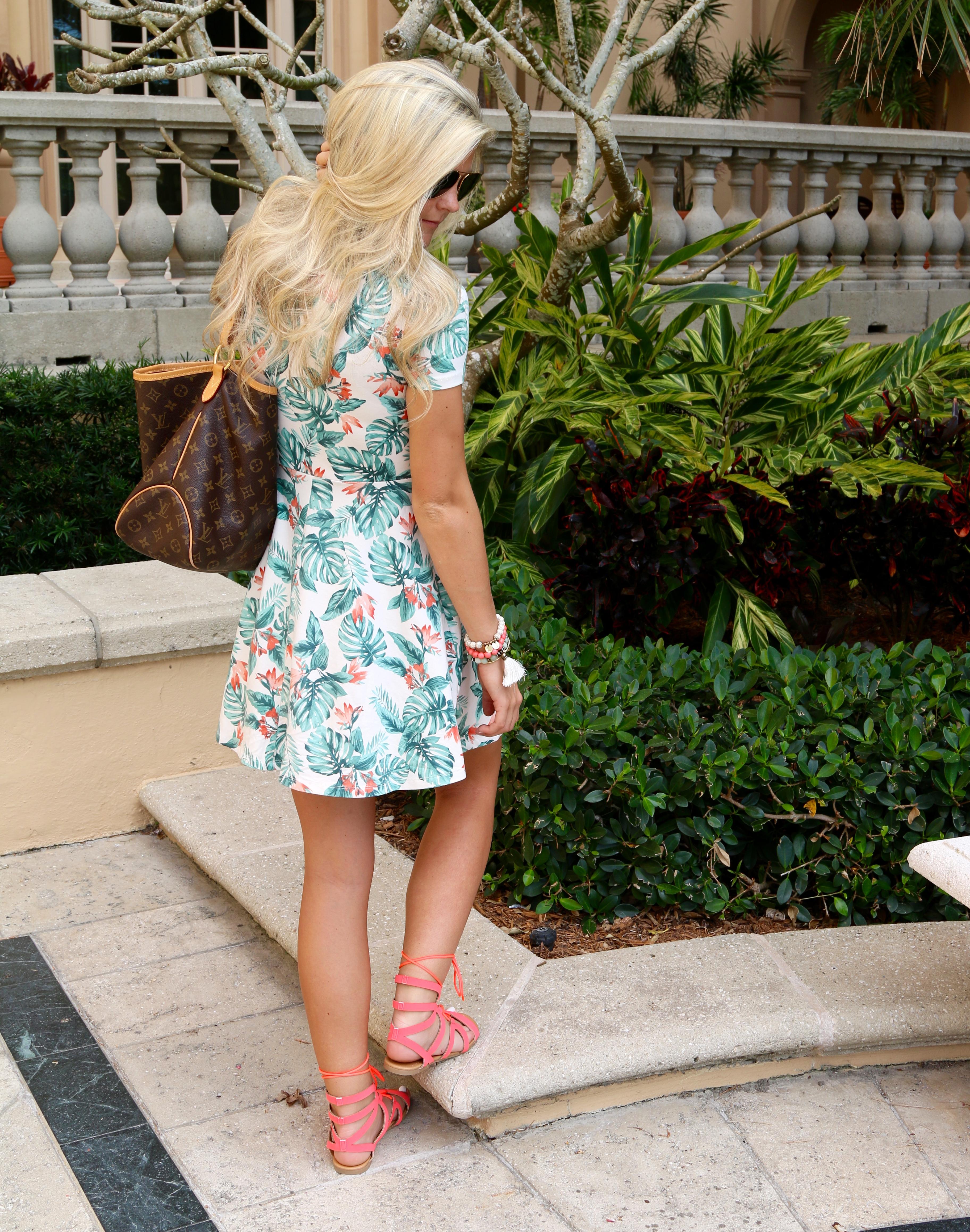 Palm Print Dress & Gladiators