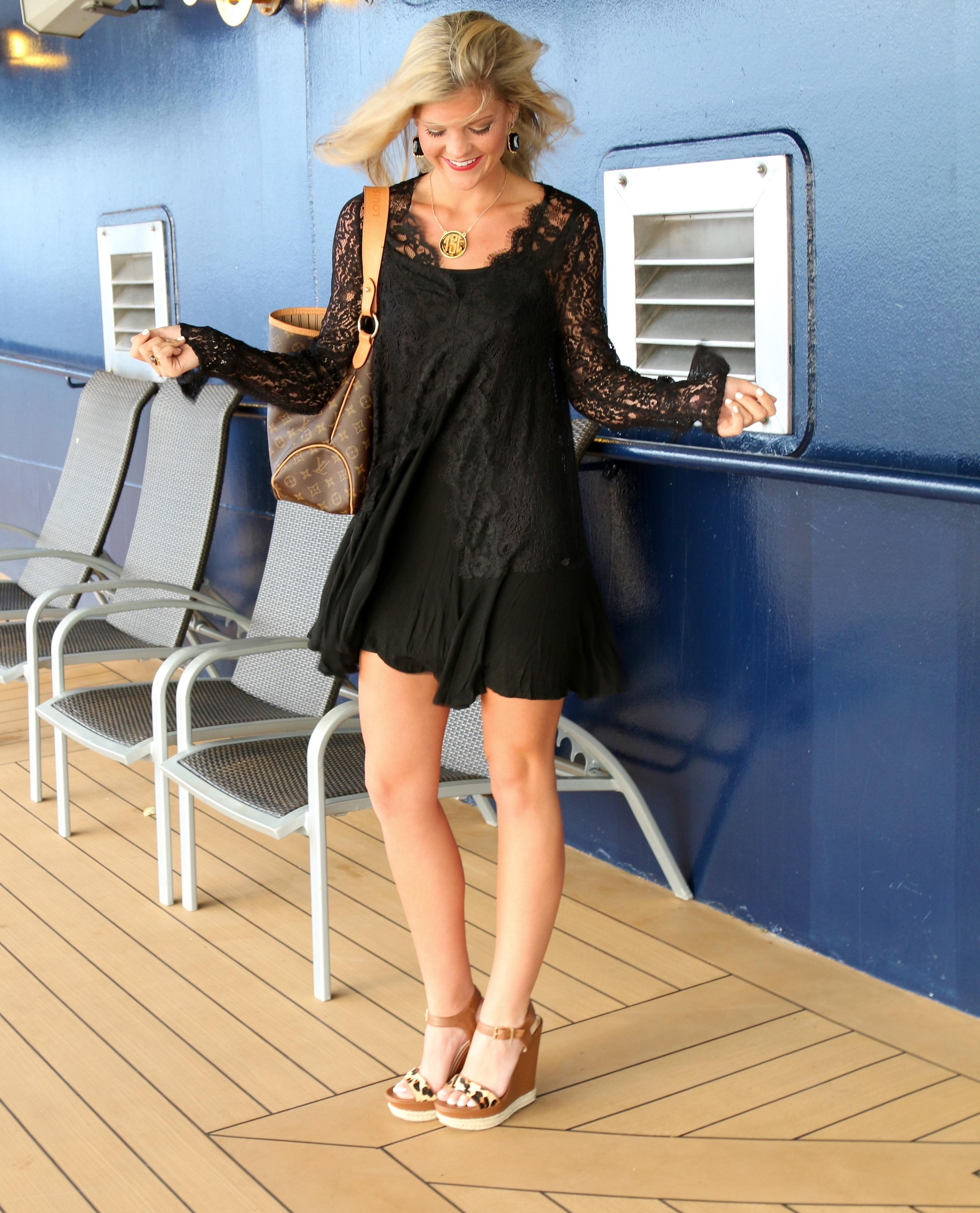 Lace Black Dress & Leopard Heels