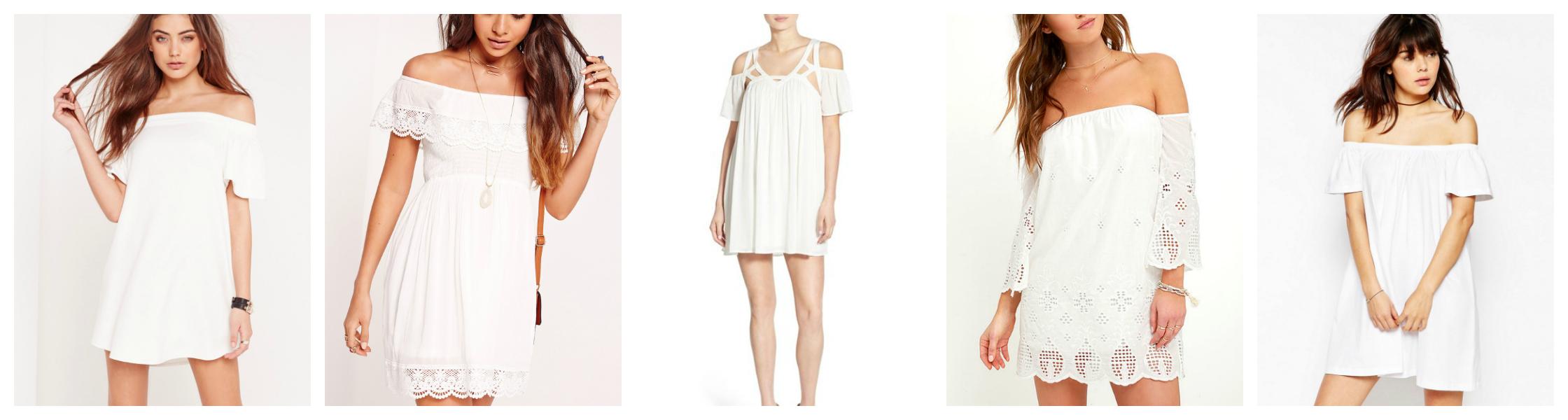 White Off the Shoulder Dresses