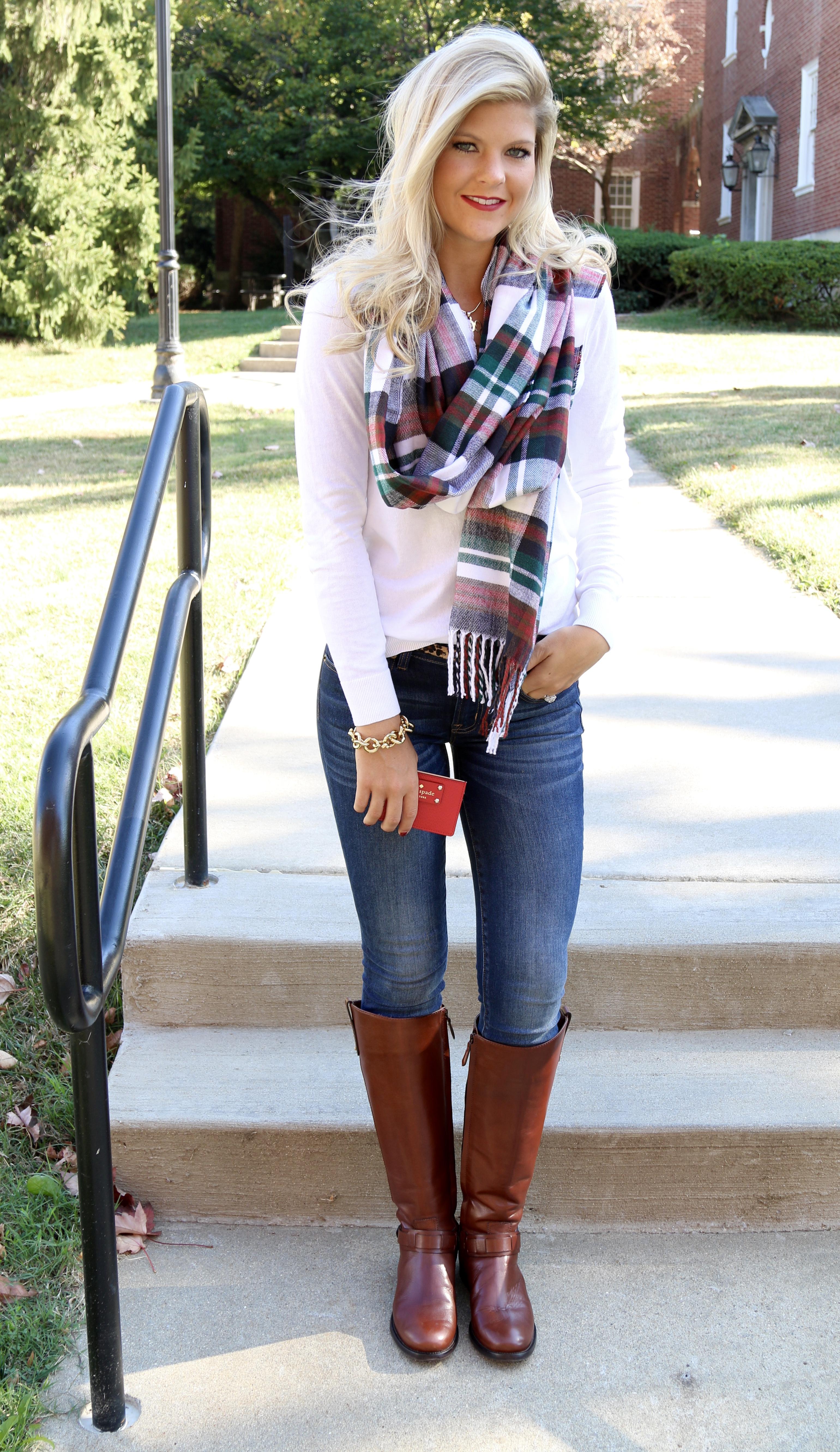white sweater  plaid scarf