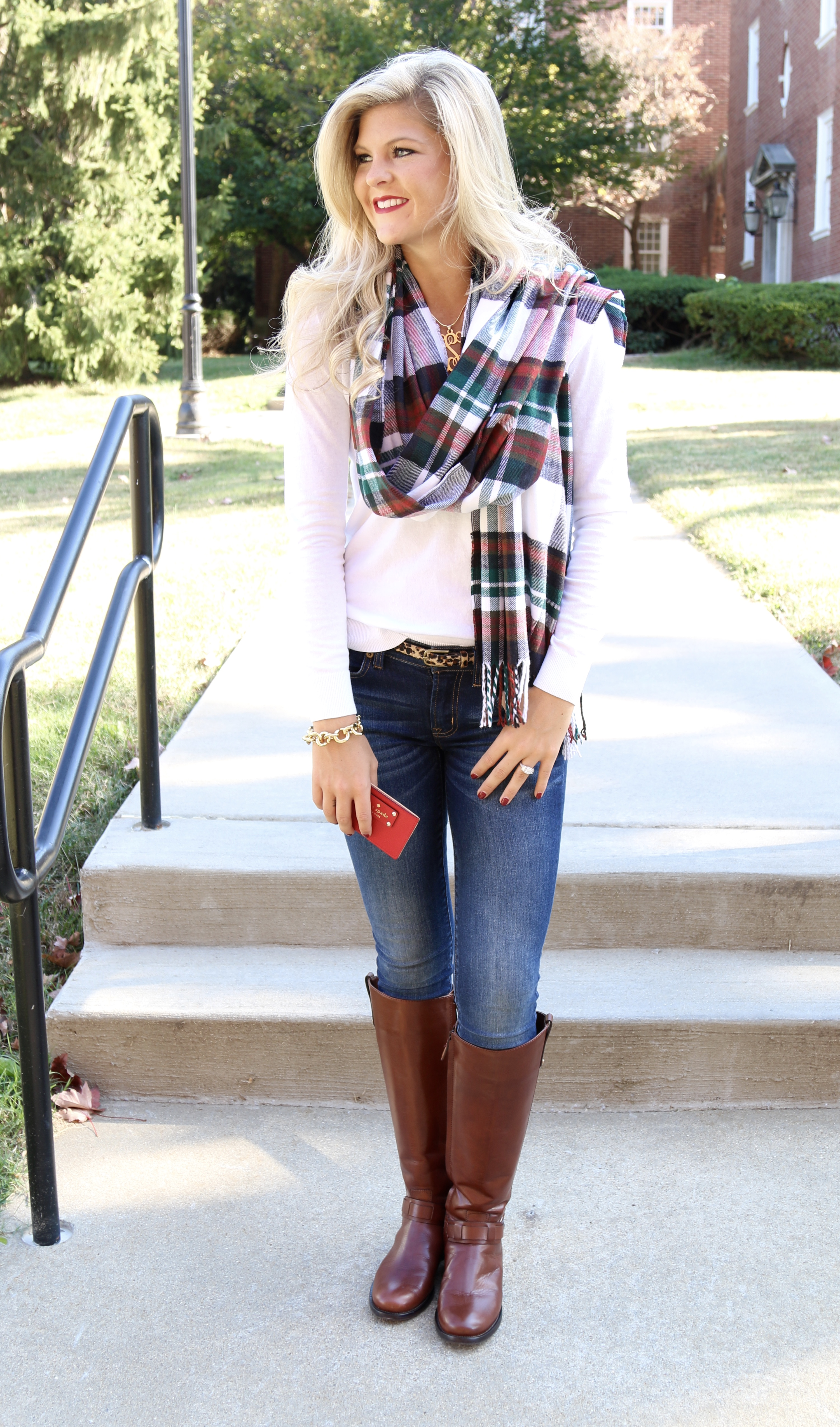 white sweater  plaid scarf