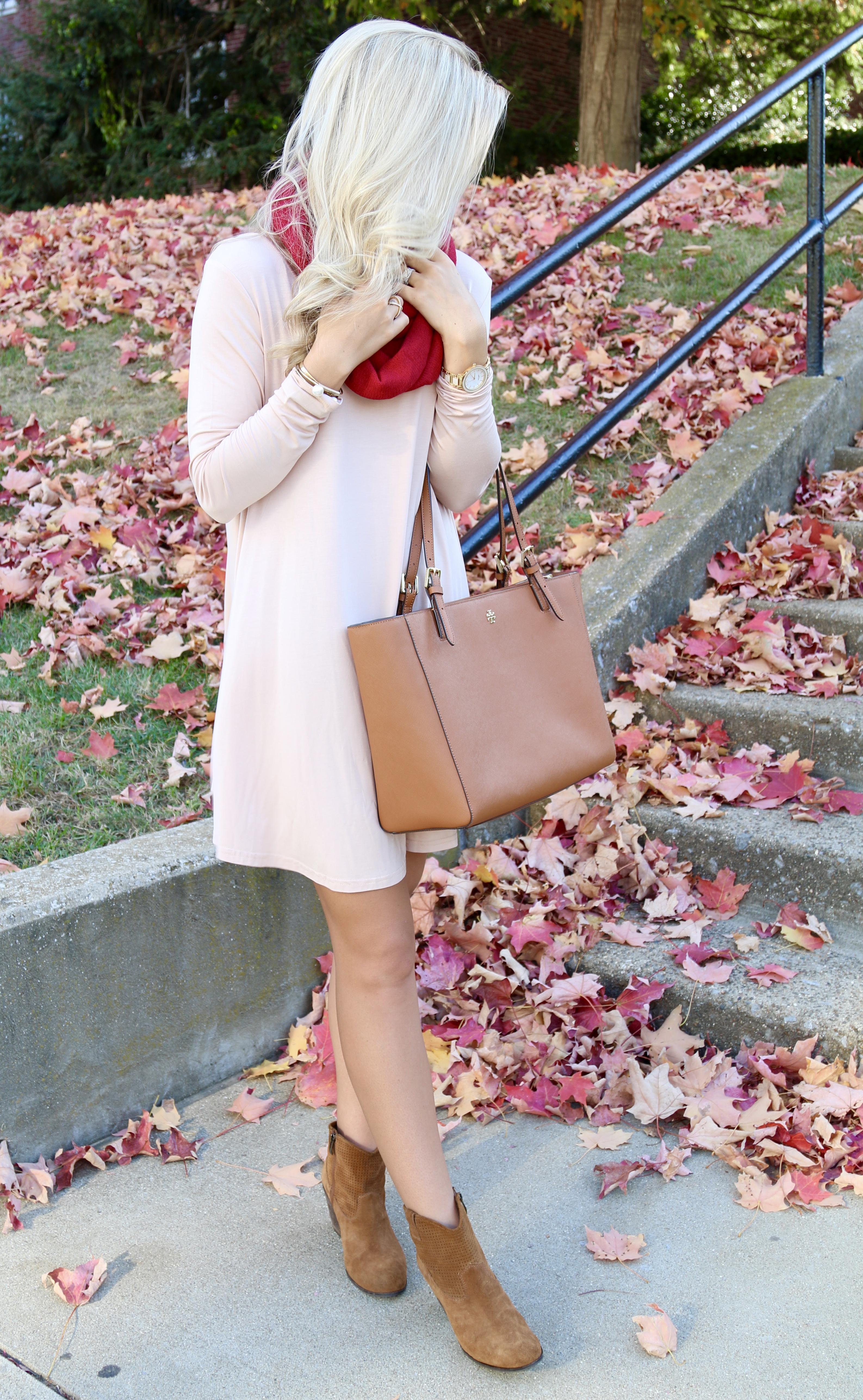 Cream Dress & Infinity Scarf