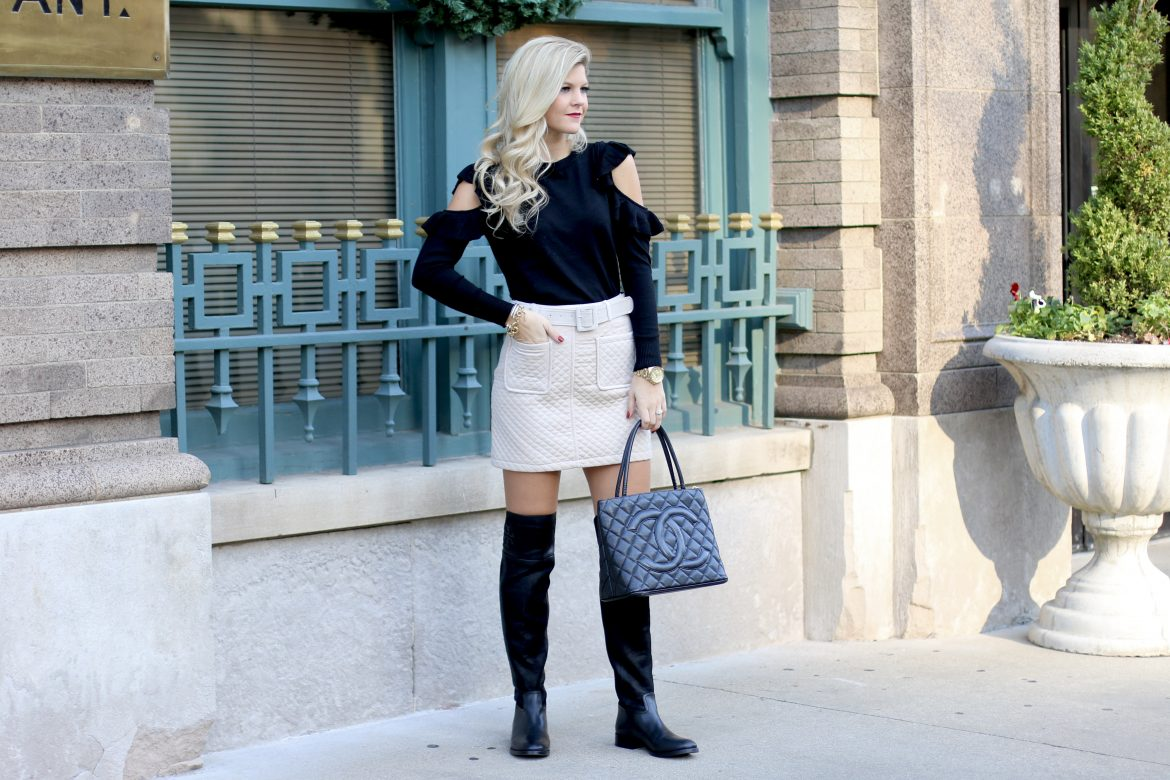 Black Sweater, Quilted Skirt, Black Tory Burch Boots