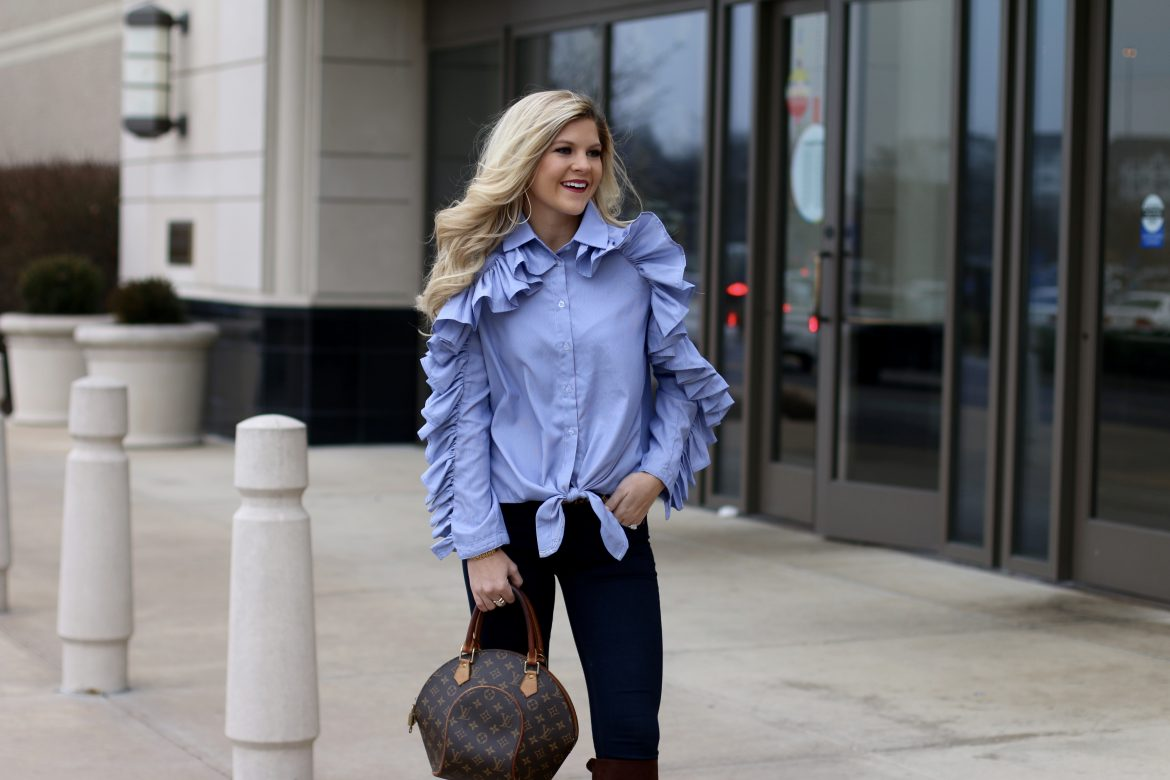 Ruffled Sleeve Blouse with tie