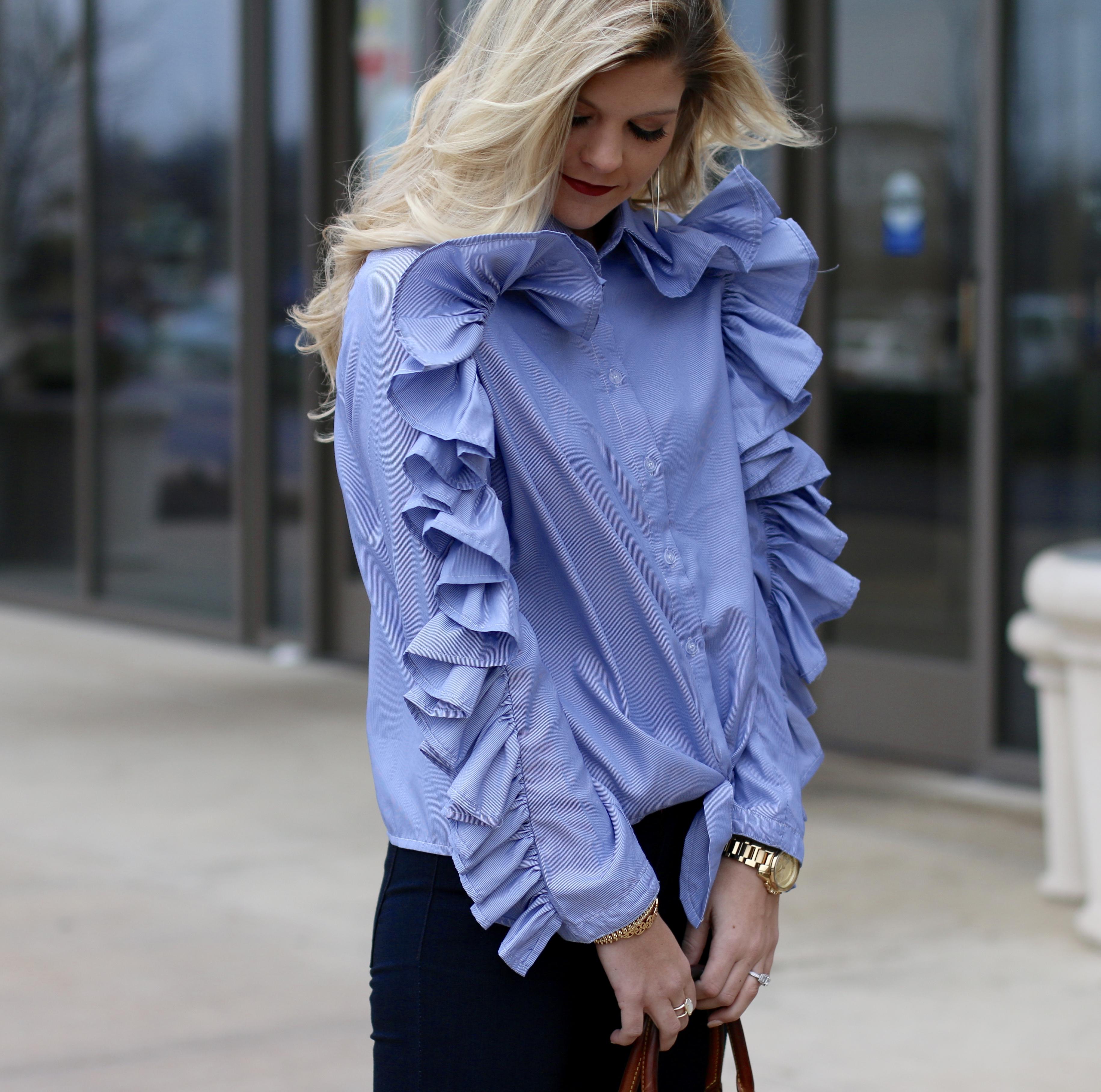 Blue Ruffle Sleeves
