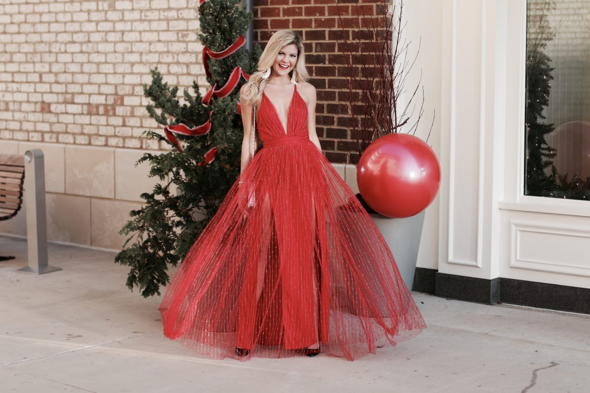 Red Maxi Dress with tulle
