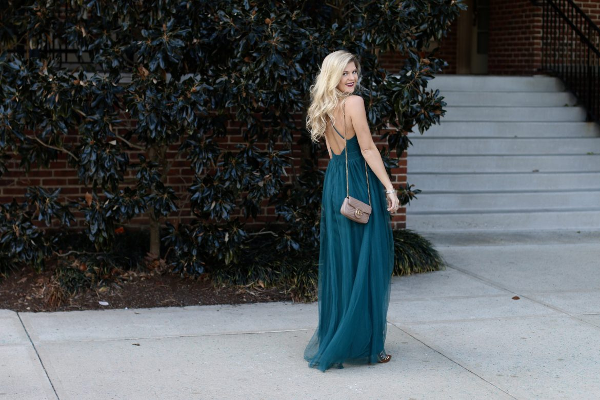 Tulle, V-Neck, Maxi Dress