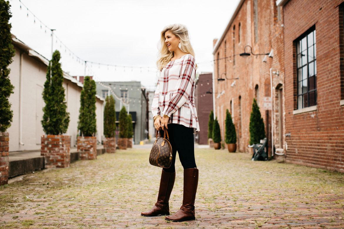 Plaid Peplum Blouse